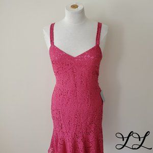 NEW Chelsea 28 Dress Pink Lace Long Fit Flare V